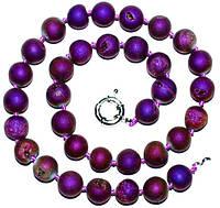 Бусы, натуральный камень халькопирит, фиолетовые с отливом 5_25_272
