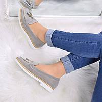 Туфли лоферы женские Vices Flapp серые 3589 , балетки женские