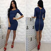 Платье женское приталенное с молнией сзади, материал - стрейч джинс, цвет - синий