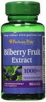Черника для зрения, Puritan's Pride Bilberry 4:1 Extract 1000 mg 90 Softgels