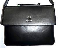 Мужская черная кожаная сумка барсетка на плечо 34*27