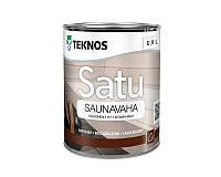 Масло-воск влагозащитный TEKNOS SATU SAUNAVAHA для саун белый 0,9л