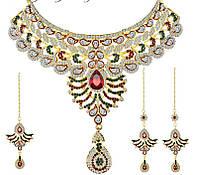 Восточные украшения для волос под золото с разноцветными камнями, набор тика, серьги, колье .