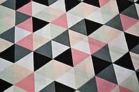 """Польская хлопковая ткань """"треугольники черно-розовые"""""""