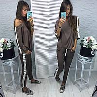 Женский модный шелковый костюм: кофта и штаны (расцветки), фото 1