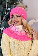 Зимний женский комплект «Вилена» (шапка и шарф-хомут) Малиновый+Белый
