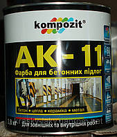 Краска для бетонных полов АК-11 Kompozit серая, 10кг. Доставка НП бесплатно!