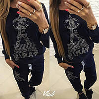Женский осенний костюм с камнями: кофта и штаны (расцветки)