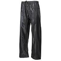Дождевые брюки (S), полиэстер с ПВХ MFH черного цвета