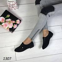 Туфли женские на низком ходу черные АВ-1307