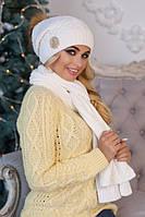 Зимний женский комплект «Синди» (шапка + шарф) Белый