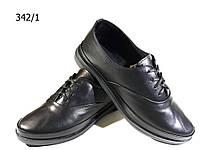 Туфли женские комфорт натуральная кожа черные на шнуровке (342/1), фото 1