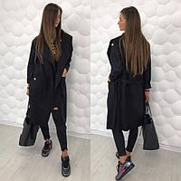 Cтильное пальто (кардиган); Пальтовая шерсть; Чёрное; 3 цвета