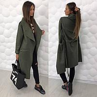 Cтильное пальто; Пальтовая шерсть; Хаки; 3 цвета