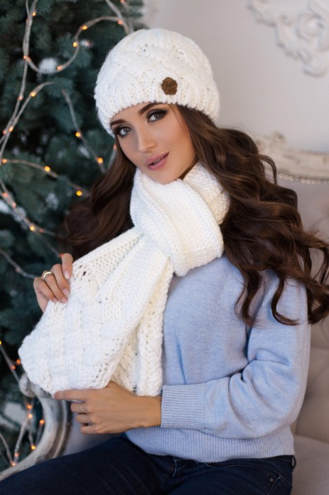 Зимний женский комплект «Дюран» (шапка и шарф) Белый