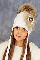 """Мериносовая шапка на флисе с меховым декором и помпоном """"Мишель"""""""