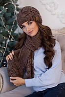 Зимний женский комплект «Дюран» (шапка и шарф) Светло-коричневый