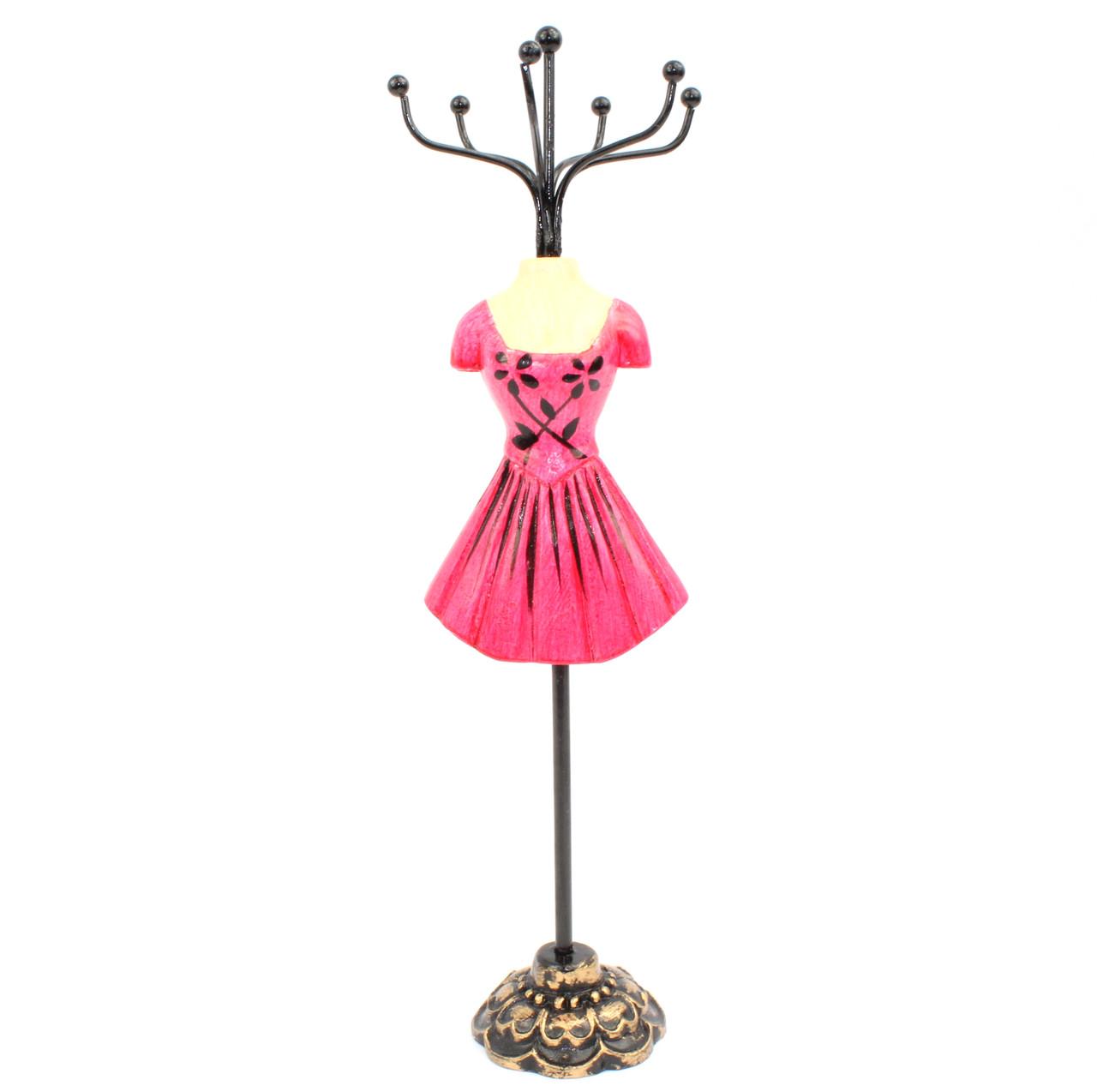 Подставка манекен под бижутерию и украшения в коротеньком малиновом платье