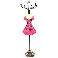 Подставка манекен под бижутерию и украшения в коротеньком малиновом платье, фото 1