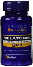 Мелатонин, Гормон Сна, Puritan's Pride, Melatonin 3 мг 120 таб