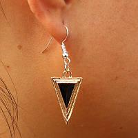 Серьги треугольник с цирконием