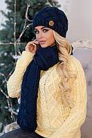 Зимний женский комплект «Дюран» (шапка и шарф) Джинсовый