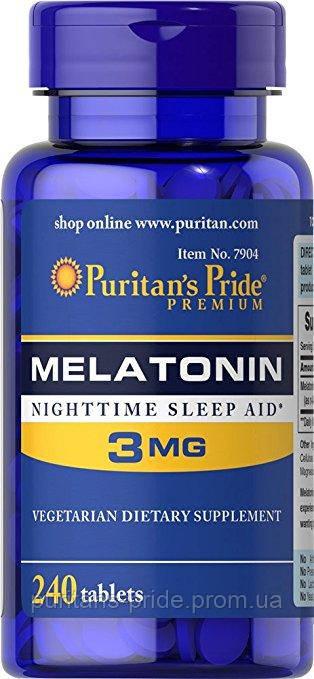Мелатонін, для сну, Puritan's Pride Melatonin 3 mg 240 Tablets