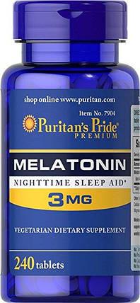 Мелатонін, для сну, Puritan's Pride Melatonin 3 mg 240 Tablets, фото 2