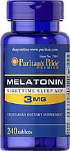 Мелатонин, для сна, Puritan's Pride Melatonin 3 mg 240 Tablets