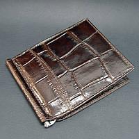 Зажим для купюр кожаный кофе карты Canpellini 070-19