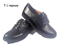 Туфли женские комфорт натуральная кожа черные на шнуровке (Т 1 чк)