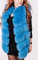 Жилет из меха финского песца нежно голубого цвета