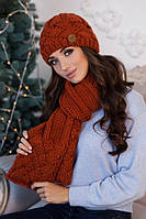 Зимний женский комплект «Дюран» (шапка и шарф) Терракотовый
