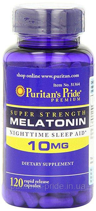 Мелатонин гормон сна, Puritan's Pride Melatonin 10 mg 120 Capsules
