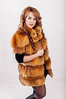 Шуба из меха лисы с воротником стойкой