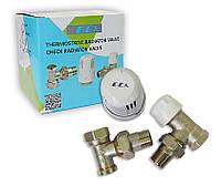 Набор E.C.A. термоголовка + отсекатель угловой + термостатический кран