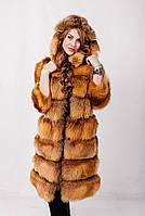 Шуба из меха лисы с капюшоном