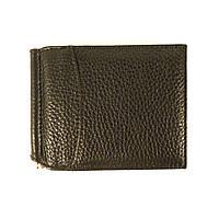 Зажим для купюр кожаный черный карты Canpellini 070-011
