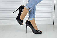 Туфли лодочки с открытым носком лак Черные - РАСПРОДАЖА