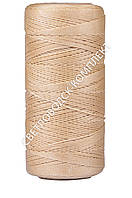 Нитка вощёная, полиэстер, 100 м, Текс №375, цв. бежевый, круглая нить