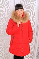 Модная зимняя  куртка для девочки Сабрина красная
