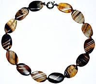 Бусы, натуральный камень, агат, черно-коричневый, полосатый 5_25_268