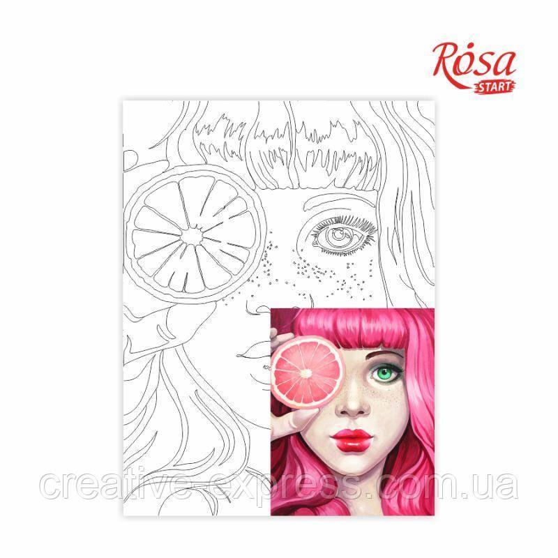 """Полотно на картоні з контуром, """"Pink"""", 30*40, бавовна, акрил, ROSA START"""