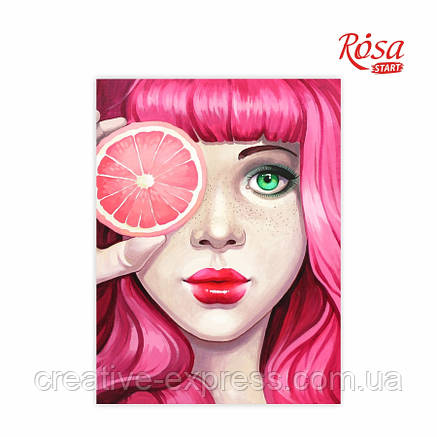 """Полотно на картоні з контуром, """"Pink"""", 30*40, бавовна, акрил, ROSA START, фото 2"""