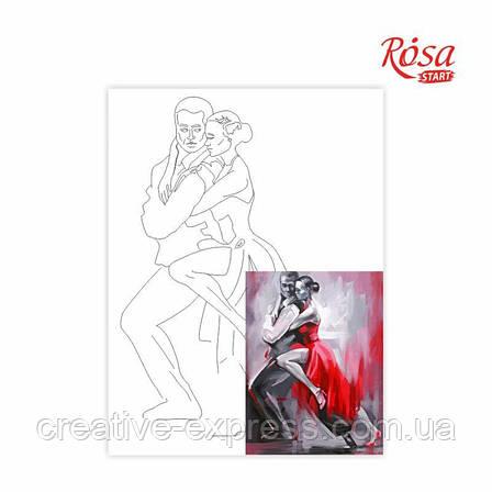 """Полотно на картоні з контуром, """"Танго"""", 30*40, бавовна, акрил, ROSA START, фото 2"""