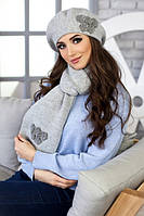 Зимний женский комплект «Фортуна» (берет и шарф) Светло-серый меланж