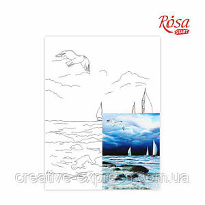 Полотно на картоні з контуром, Морські пейзажі №6, 30*40, бавовна, акрил, ROSA START