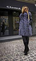 Шуба из чернобурки с воротом Шанель