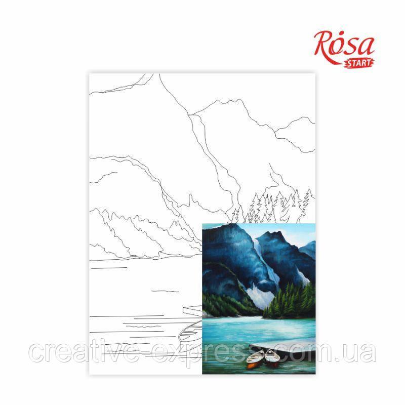 Полотно на картоні з контуром, Пейзаж №29, 30*40, бавовна, акрил, ROSA START