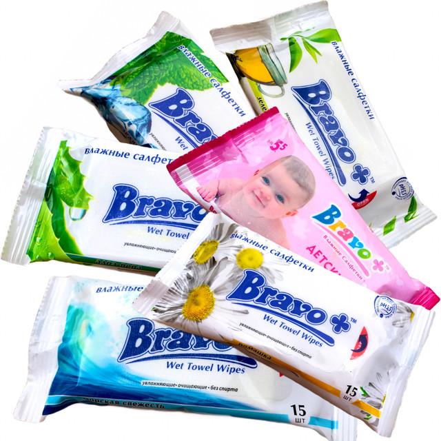 Влажные салфетки BRAVO+ (15шт) ледяная мята